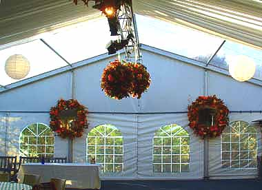 Marquee floral arrangements at Markdale